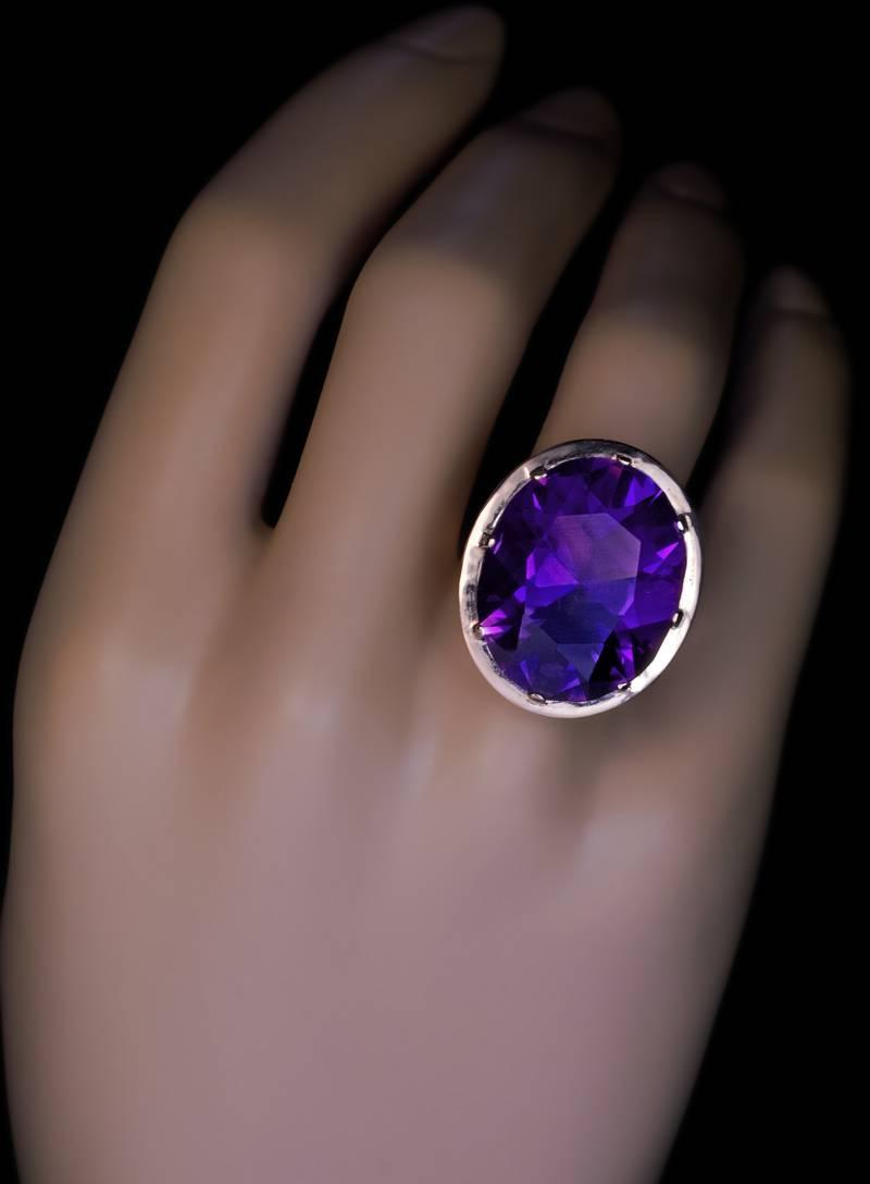 1960s Siberian Amethyst Gold Ring At 1stdibs