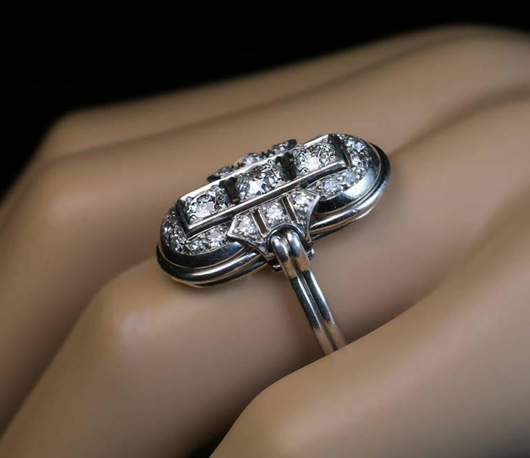 Art Deco Platinum Diamond Ring 1930s 4
