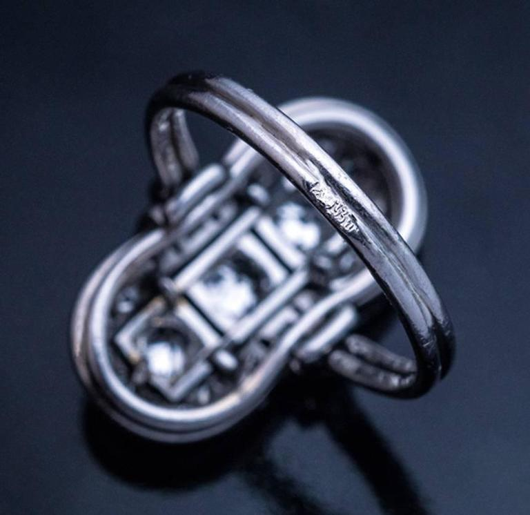 Art Deco Platinum Diamond Ring 1930s 5
