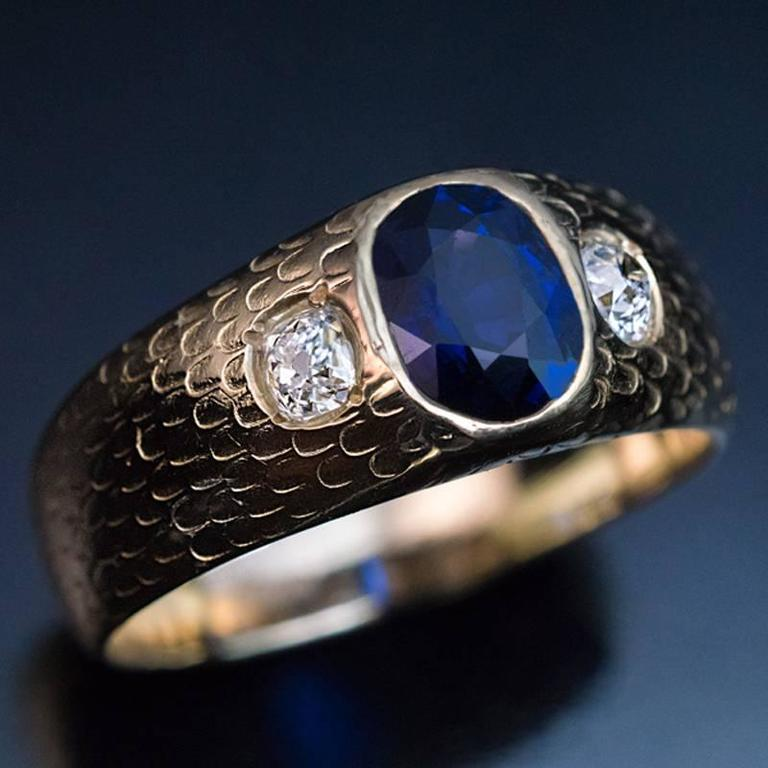 Antique Three Stone Sapphire Diamond Men S Ring At 1stdibs