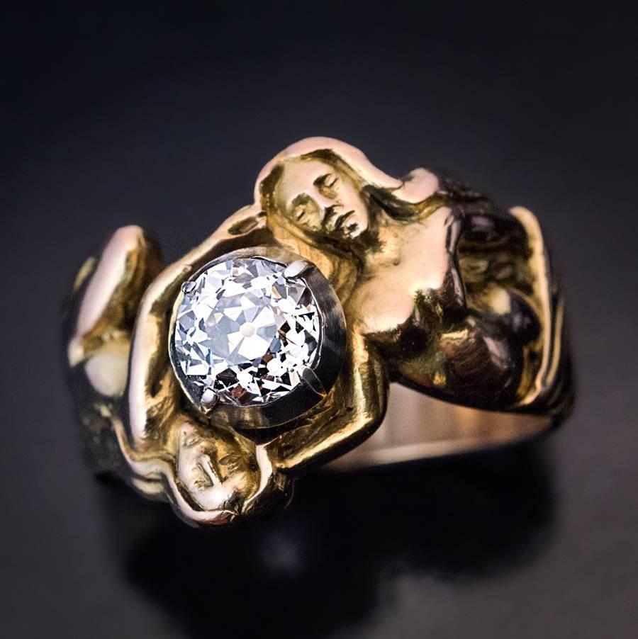 Antique Art Nouveau Diamond Gold Sculptural Men S Ring