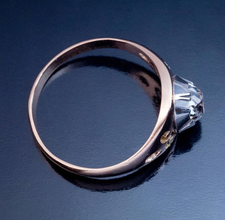 Women's or Men's Antique Russian Cushion Cut Diamond Unisex Ring For Sale