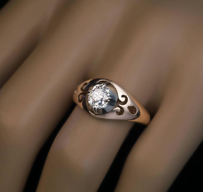 Antique Russian Cushion Cut Diamond Unisex Ring For Sale 1
