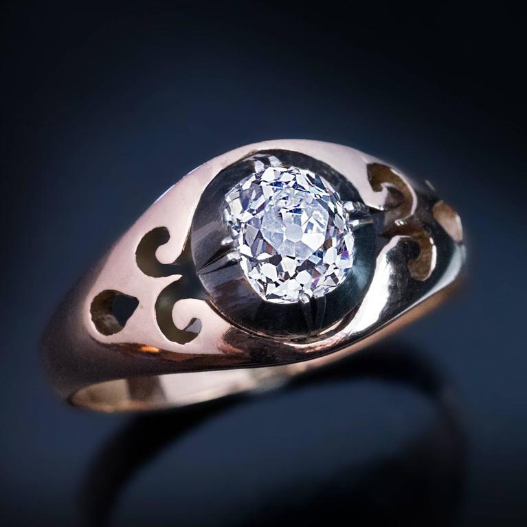 Antique Russian Cushion Cut Diamond Unisex Ring For Sale 2