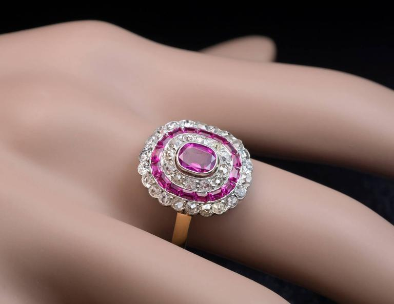 Art Deco Pink Sapphire Diamond Engagement Ring  3