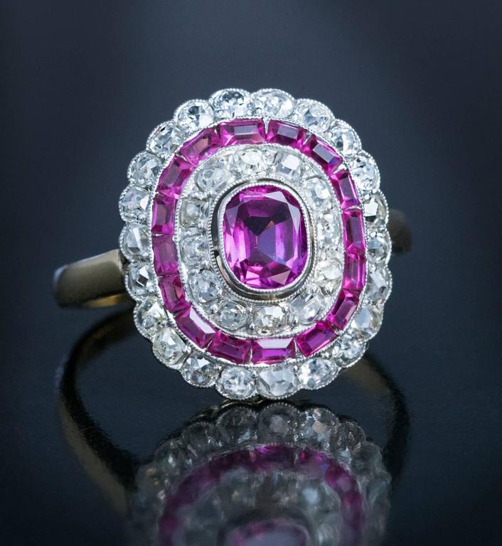 Art Deco Pink Sapphire Diamond Engagement Ring  5