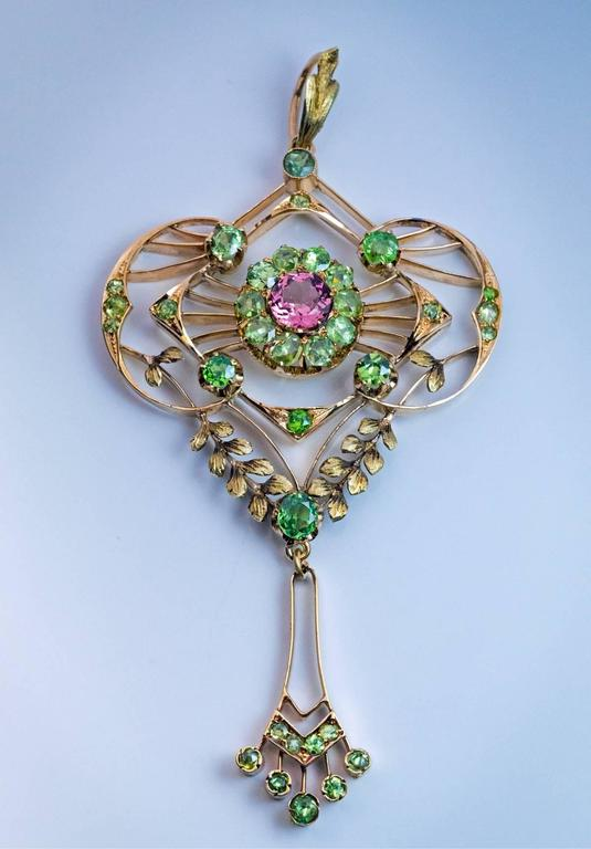 Art Nouveau Belle Epoque Antique Demantoid Tourmaline Gold Pendant For Sale
