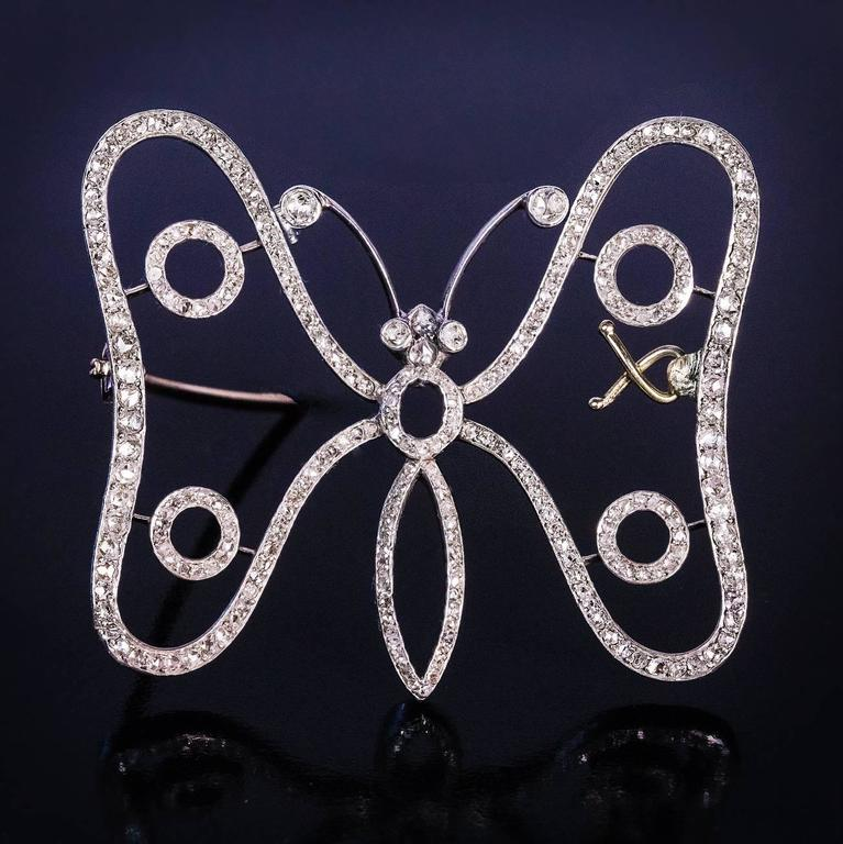 1900s Art Nouveau Antique Diamond Gold Butterfly Brooch