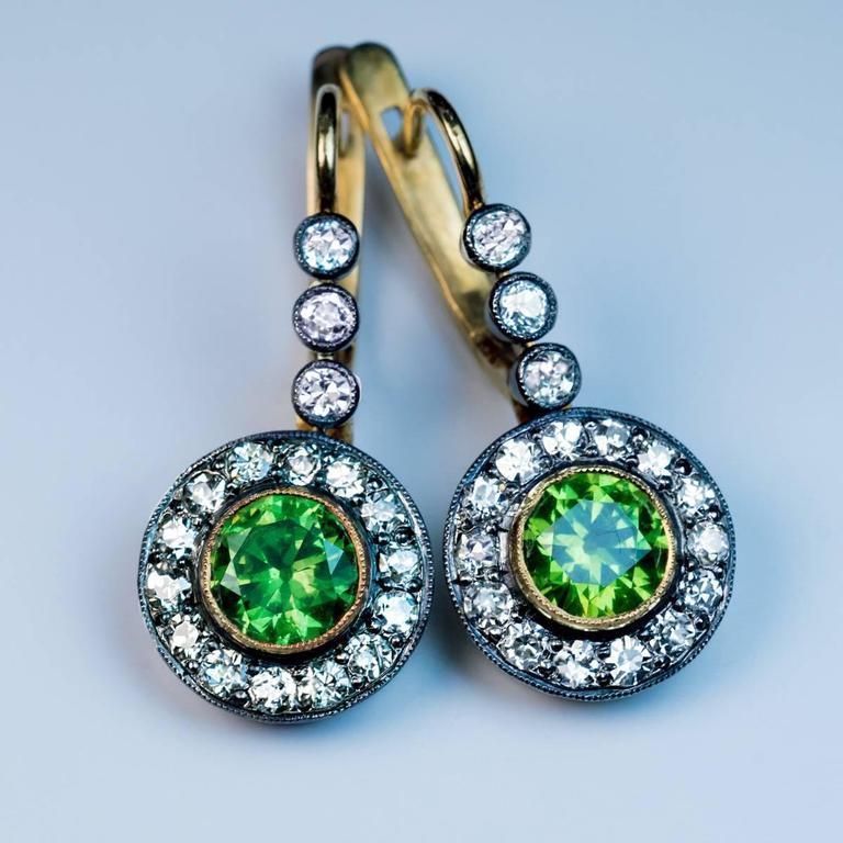 Women S Russian Demantoid Diamond Drop Earrings For