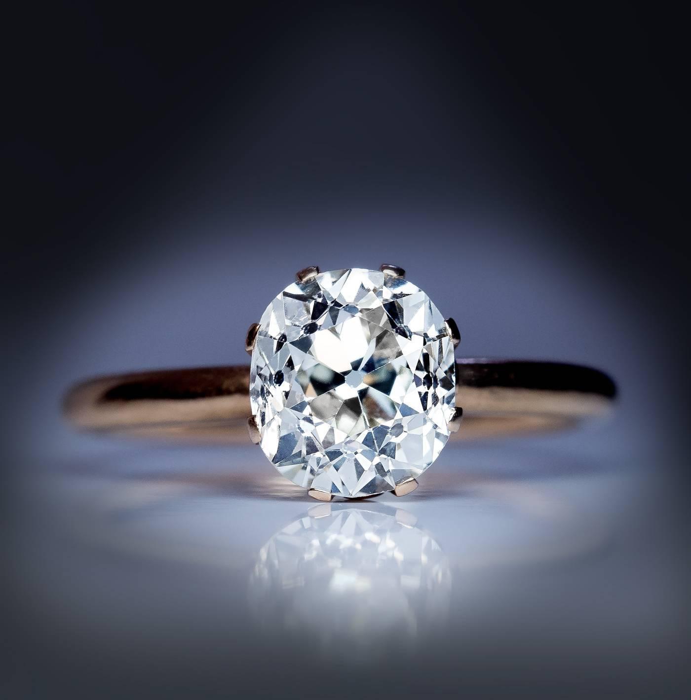 Antique Russian 2 66 Carat Cushion Cut Diamond Gold Engagement Ring at 1stdibs