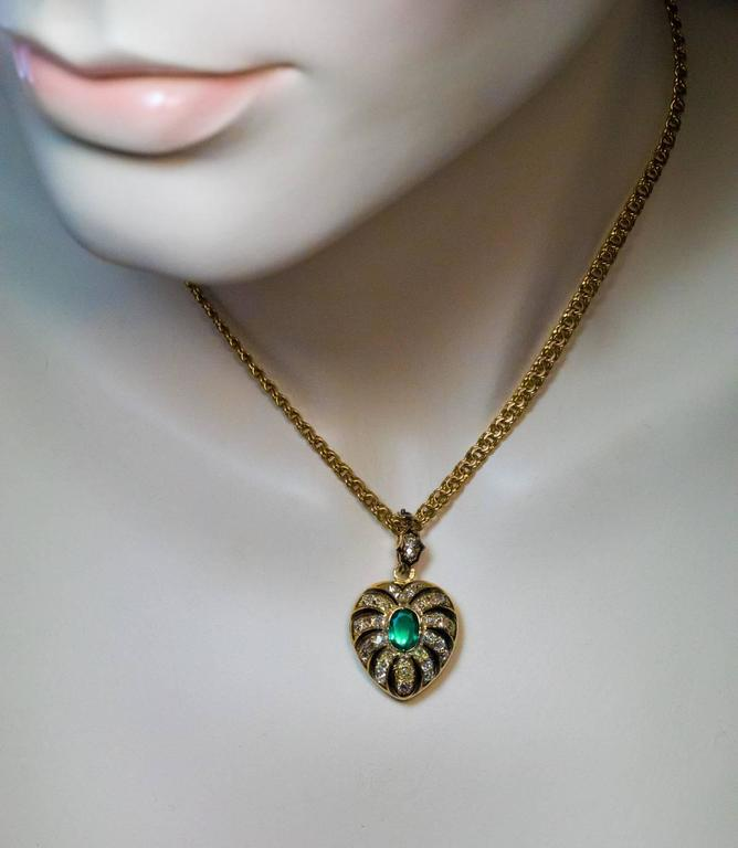 Antique Enamel Emerald Diamond Gold Heart Shaped Locket Pendant 2