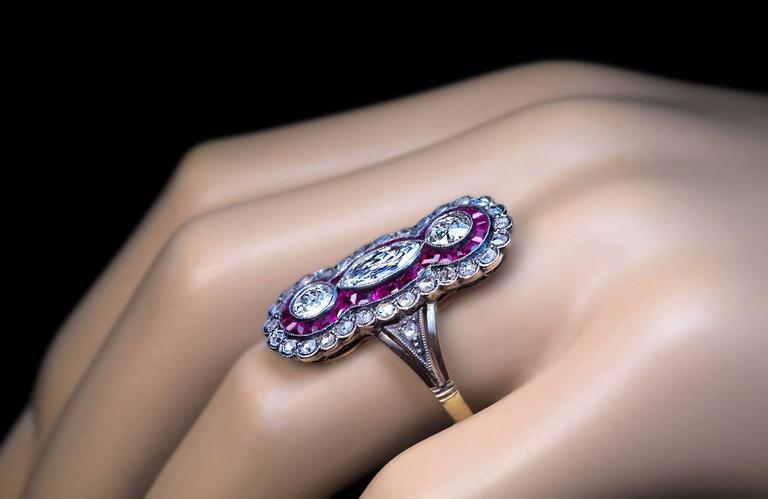 Antique Russian Diamond Ruby Long Ring 4