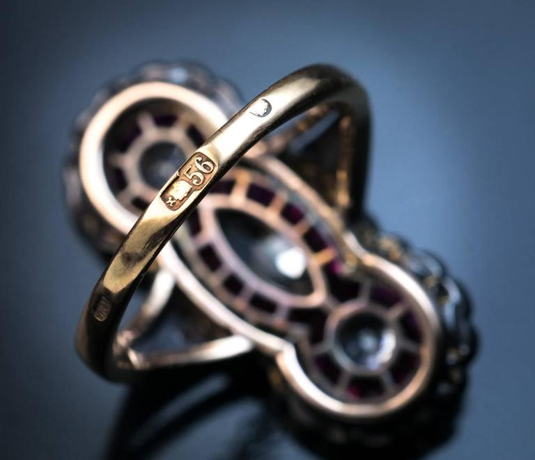 Antique Russian Diamond Ruby Long Ring 5
