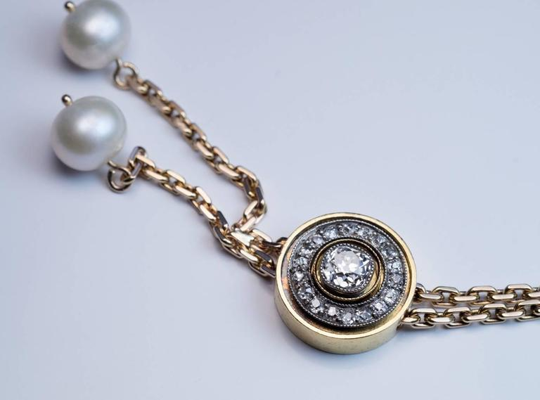 Antique Russian Diamond Pearl Gold Drop Necklace 4