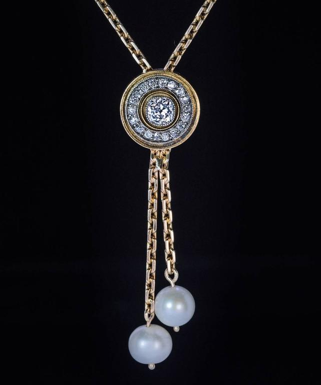 Antique Russian Diamond Pearl Gold Drop Necklace 6