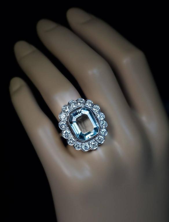 1920s Aquamarine Diamond Platinum Cluster Ring 2