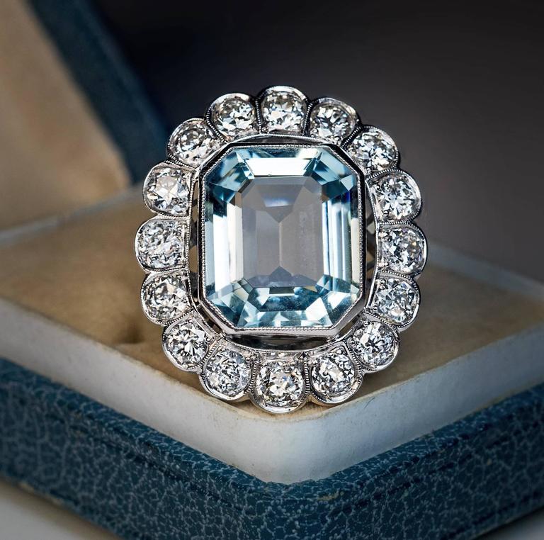 Emerald Cut 1920s Aquamarine Diamond Platinum Cluster Ring For Sale