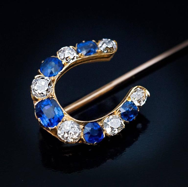 9230e4764c4eb Antique Sapphire Diamond Gold Horseshoe Stick Pin