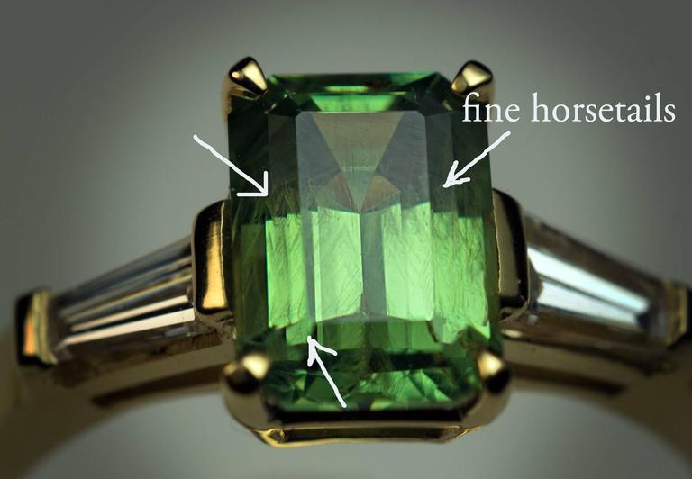 Rare Emerald Cut 1.91 Carat Russian Demantoid Diamond Ring 2