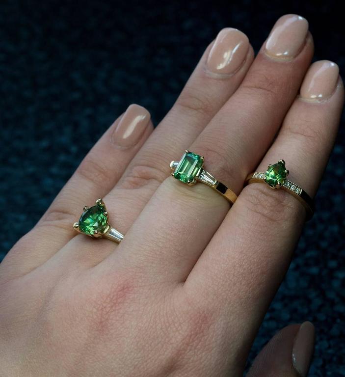Rare Emerald Cut 1.91 Carat Russian Demantoid Diamond Ring 3