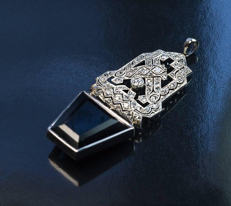 Art Deco Sapphire Diamond Platinum Pendant 2