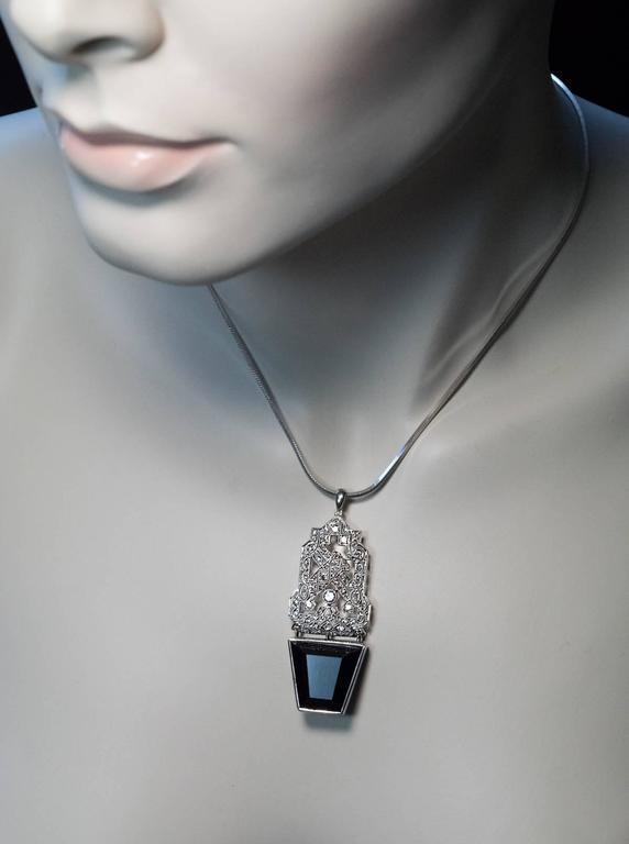 Art Deco Sapphire Diamond Platinum Pendant 3