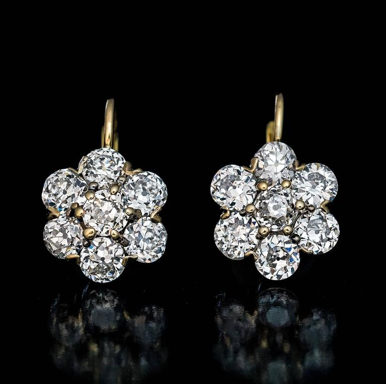 Antique Russian Old European Cut Diamond Cluster Earrings In Excellent Condition For Sale In Chicago, IL