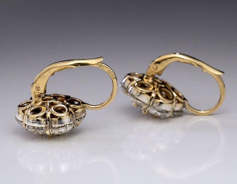 Women's Antique Russian Old European Cut Diamond Cluster Earrings For Sale