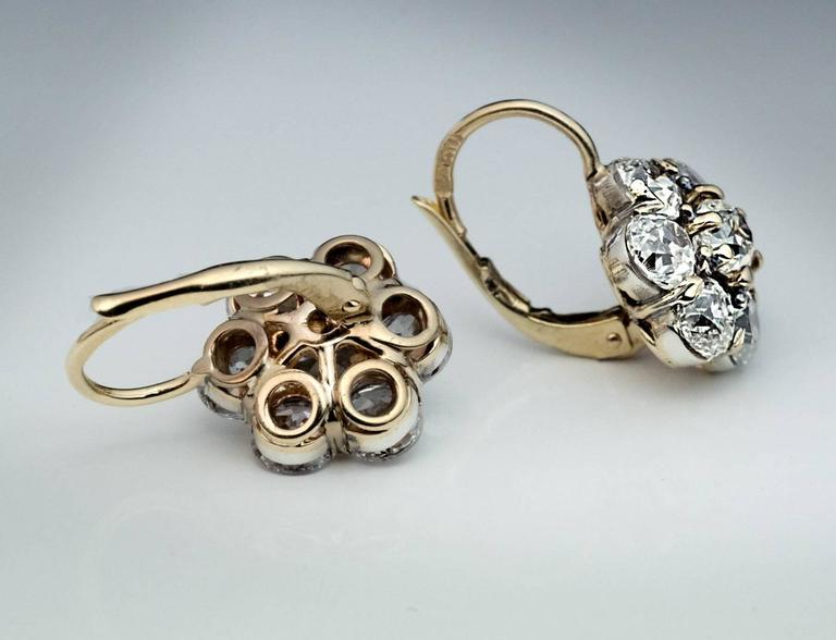 Antique Russian Old European Cut Diamond Cluster Earrings For Sale 1