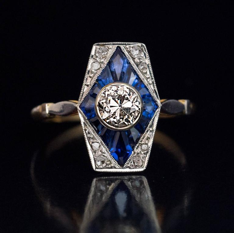 Antique French Early Art Deco Calibre Sapphire Diamond Engagement Ring 5