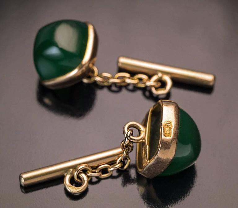 Antique Russian Gold Mounted Nephrite Jade Cufflinks 2