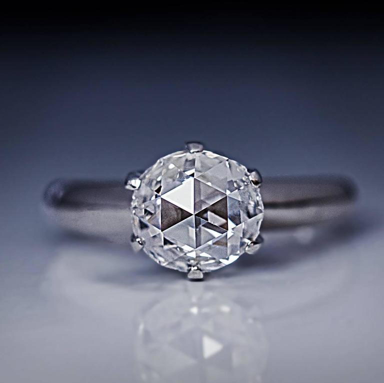 Rose Cut Diamond Platinum Engagement Ring For Sale At 1stdibs