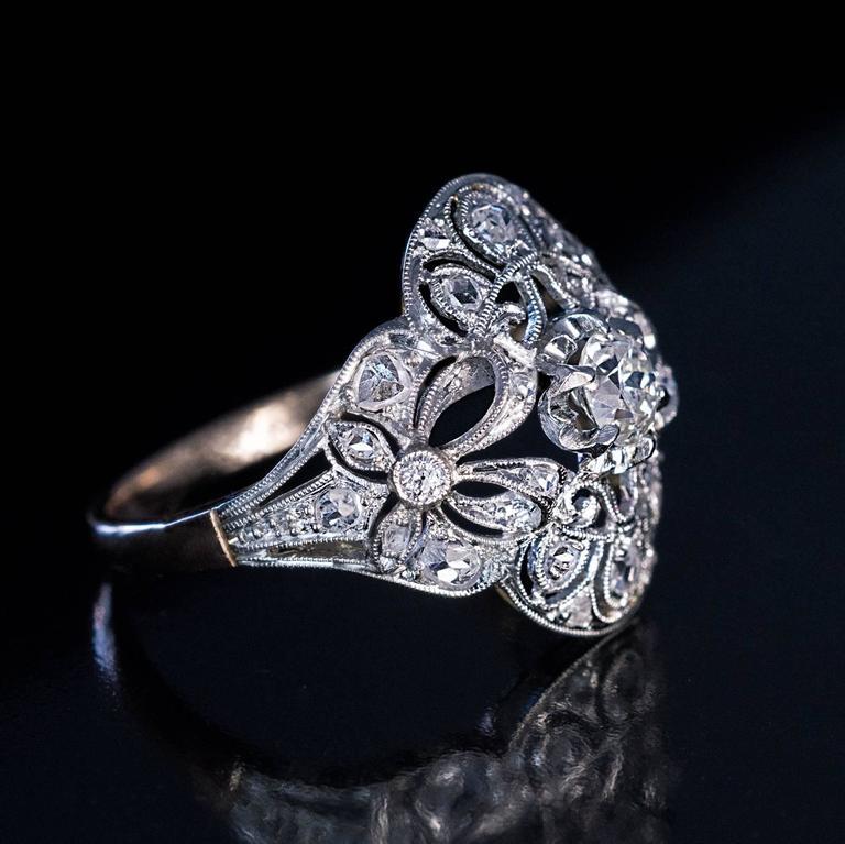 antique edwardian bow motif diamond platinum gold