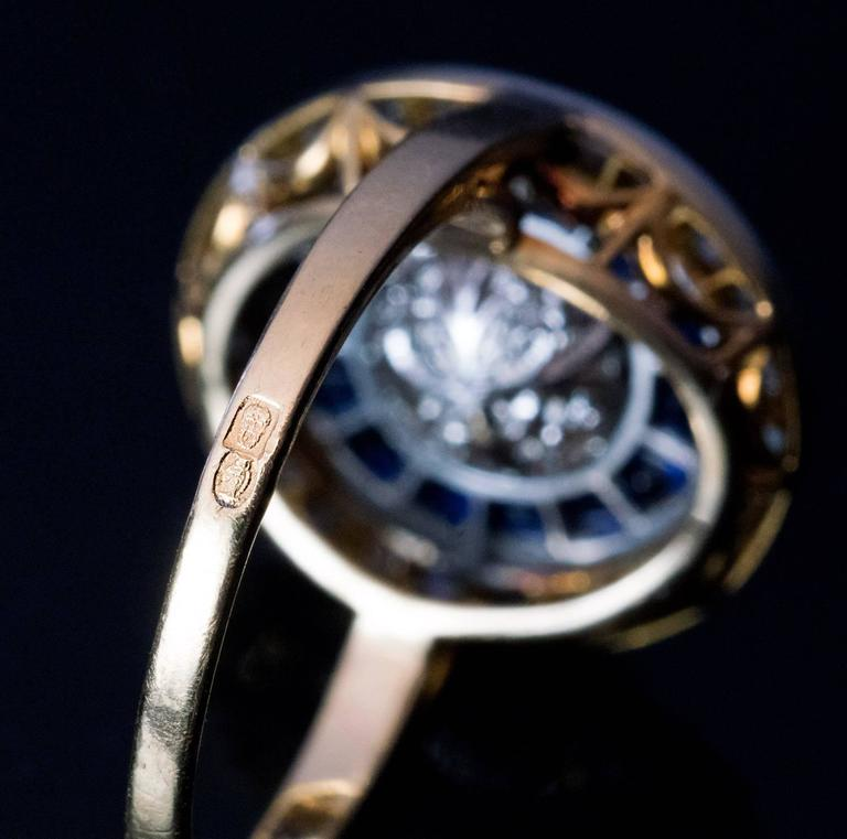 Antique Rose Cut Diamond Calibre Sapphire Engagement Ring 4