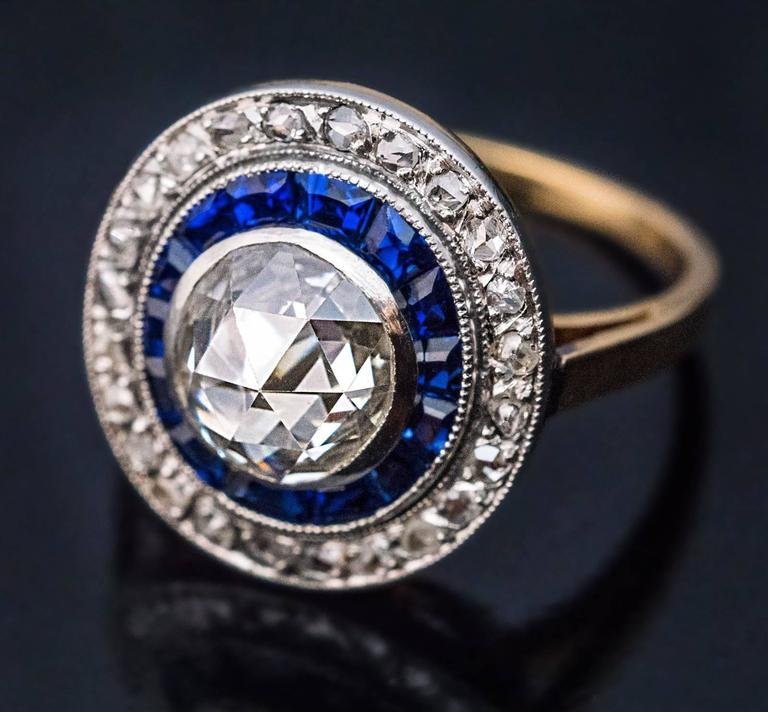 Antique Rose Cut Diamond Calibre Sapphire Engagement Ring 6
