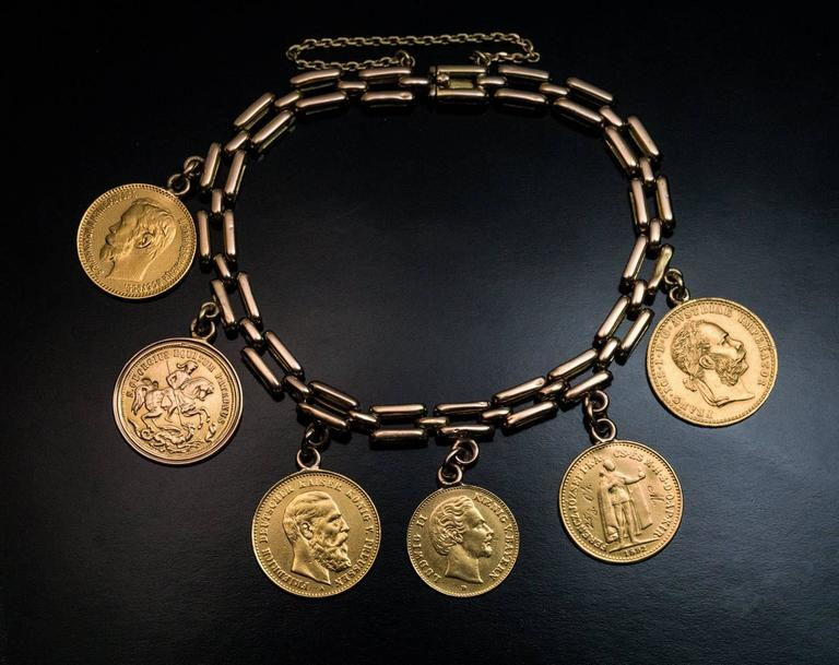 Antique Old European Gold Coin Bracelet At 1stdibs
