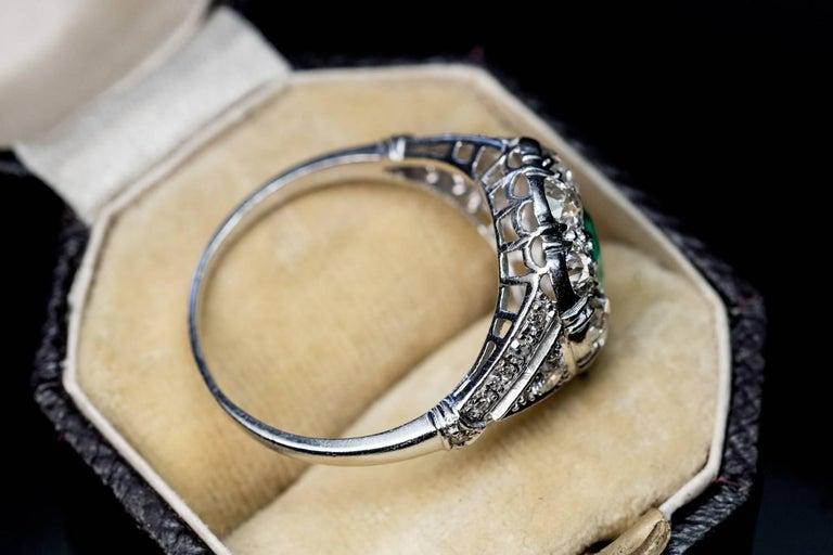 Women's Art Deco Emerald Diamond Platinum Engagement Ring For Sale