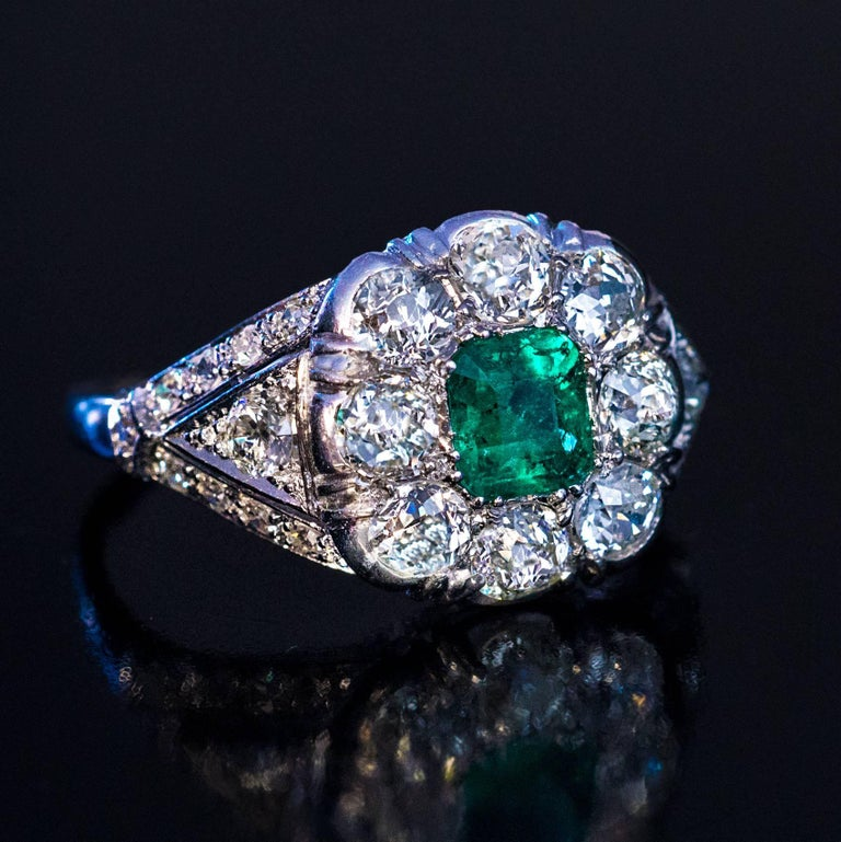 Art Deco Emerald Diamond Platinum Engagement Ring For Sale 1