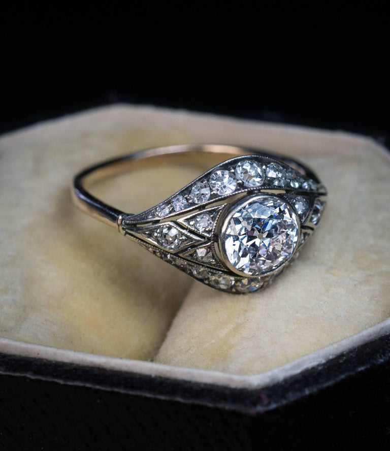 Antique Engagement Rings For Sale: Antique Edwardian Old European Diamond Engagement Ring For