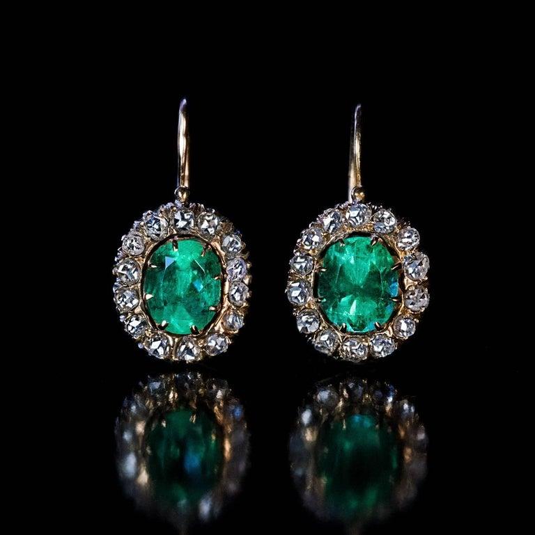 Victorian Antique Russian Emerald Rose Cut Diamond Earrings For
