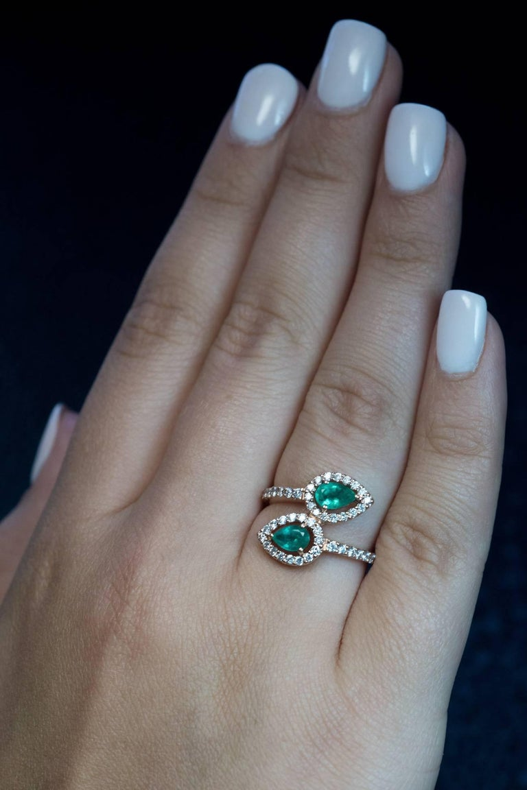 Contemporary Bypass Emerald Diamond Gold Ring For Sale At