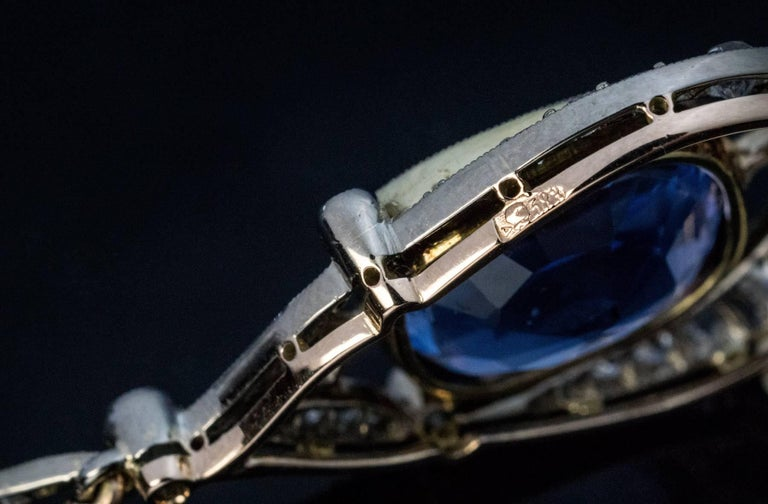 Rare 12.47 Carat Natural Ceylon Sapphire Diamond Art Deco Pendant For Sale 1