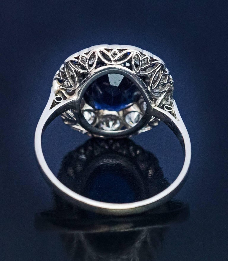 Midcentury Sapphire Diamond Cluster Engagement Ring In Excellent Condition For Sale In Chicago, IL