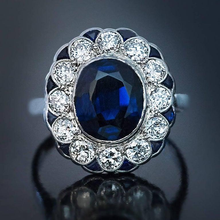 Women's or Men's Midcentury Sapphire Diamond Cluster Engagement Ring For Sale