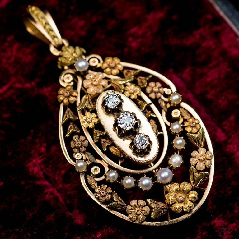 Belle Epoque Antique French Gold Diamond Pearl Pendant 2