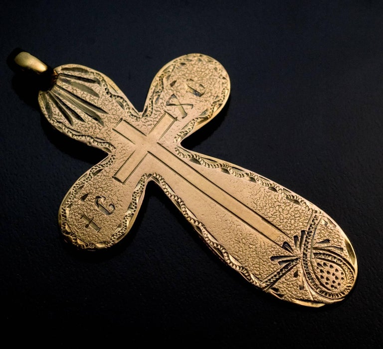 Antique Russian 19th Century Engraved Gold Cross Pendant 2