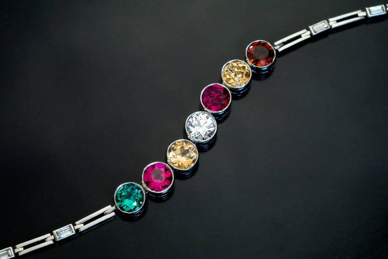 Art Deco 1930S Diamond Ruby Tourmaline Zircon Platinum Bracelet For Sale