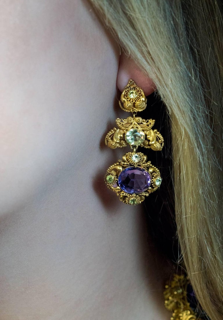 Antique Georgian Era Amethyst Chrysoberyl Gold Parure, circa 1830 For Sale 1