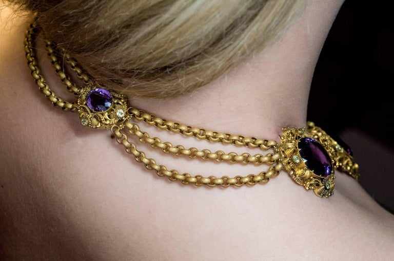 Antique Georgian Era Amethyst Chrysoberyl Gold Parure, circa 1830 For Sale 2