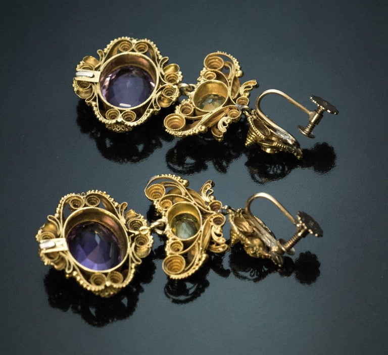 Antique Georgian Era Amethyst Chrysoberyl Gold Parure, circa 1830 For Sale 4